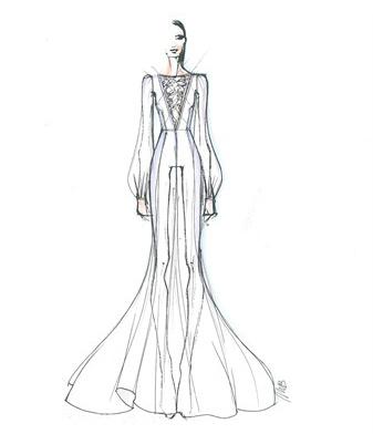 bozzetto abito da sposa di belen rodriguez